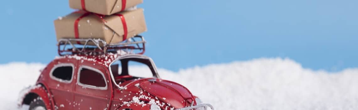 holiday season insurance savings car presents and snow